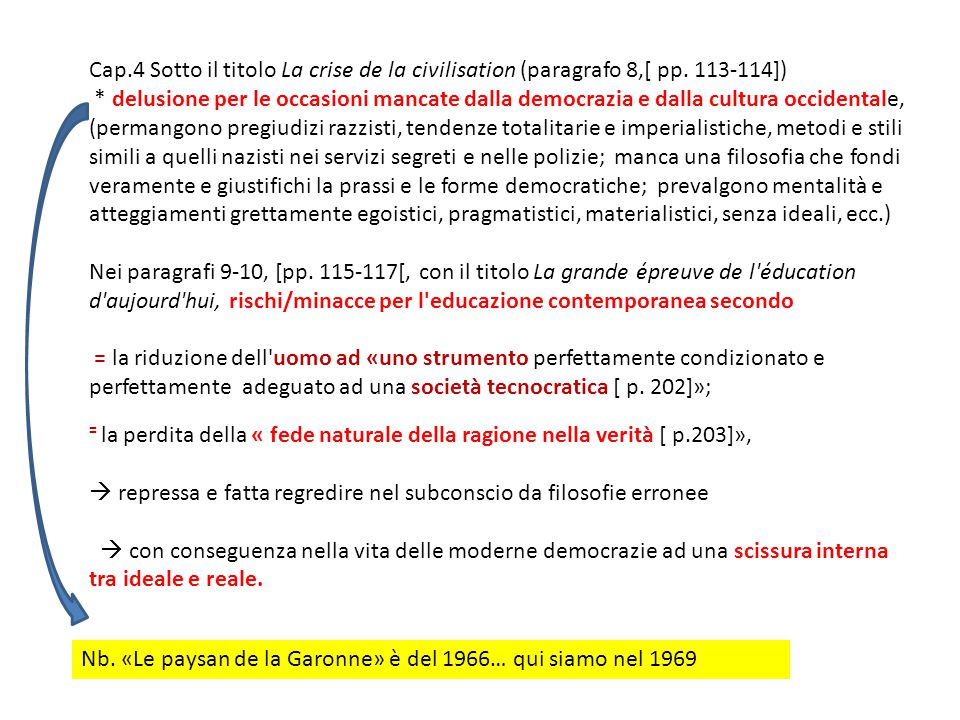 Cap. 4 Sotto il titolo La crise de la civilisation (paragrafo 8,[ pp